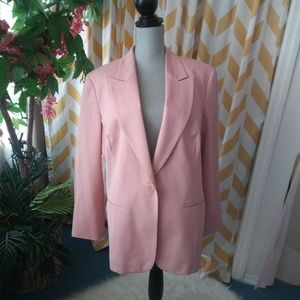 Chicos Size 3 Pink One Button Blazer Fully lined